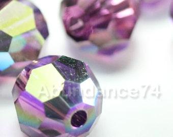 24 pcs Swarovski Elements - Swarovski Crystal Beads 5000 4mm Round Ball Beads - AMETHYST AB