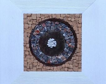 Small mosaic - marble - Terra cotta, rusty - frame white wood