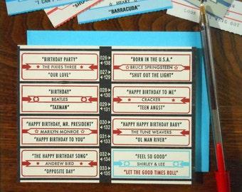 letterpress vintage birthday jukebox inspired greeting card blue red black happy birthday