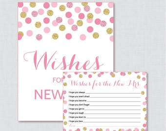 Wishes for the New Mrs Pink and Gold Bridal Shower Wishes for the Bride to Be - Printable Pink and Gold Bridal Shower Wishes Cards - 0001-P