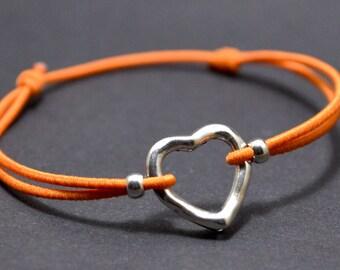 Bracelet orange heart