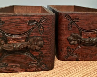 Pair of Antique Sewing Machine Drawers with Original Drawer Pulls with Beautiful Carvings