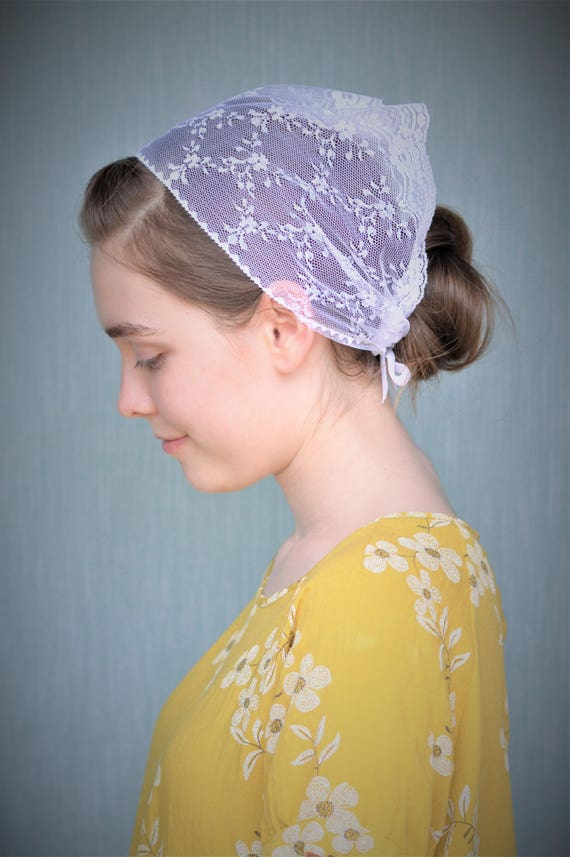 Soft White Lace Head Cover | Veil with Ties Christian Catholic Veil for Mass Veil Catholic Mantilla Robin Nest Lane White Veil Discreet Veil
