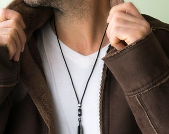 Men's Necklace - Men's Leather Necklace - Men's Beaded Necklace - Men's Jewelry - Men's Gift - Boyfriend Gift - Husband Gift - Gift For Him