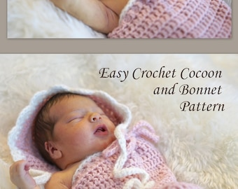 Crochet Cocoon and Bonnet Pattern - EASY Swaddle Sack Pattern - Cocoon - Hat - by Deborah O'Leary Patterns