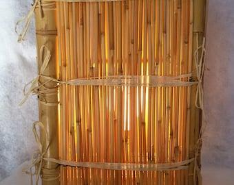 natural raffia and wooden bamboo lamp