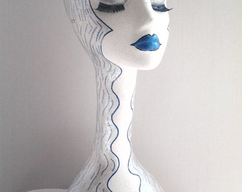 Hand Painted White Long Neck Styrofoam Mannequin Head Display, 19 inches Tall , Made to Order, Womens Mannequin Head