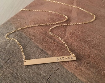 BADASS -- 14kgf Thin Horizontal Bar Necklace