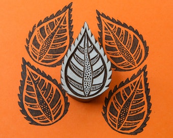 Exotic Indian Leaf, wood stamp