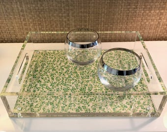 Green Squares Pattern Gold Lucite Tray