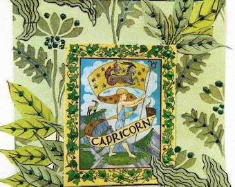 Fine Art Greeting Card: OOAK Zodiac Montage 'Capricorn'