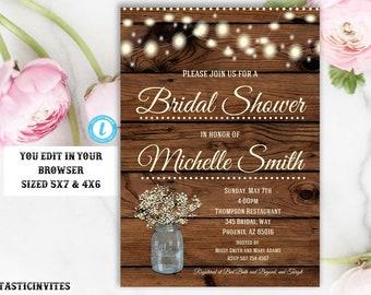 Rustic Bridal Shower Invitation, Rustic Invitation, Country invitation, Flower Invitation, Bridal Shower Invitation, Template, YOU EDIT, DIY