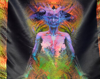 STRATIFICATION Psychedelic Tapestry, Blacklight, Fluorescent Visonary Art,  Wall hanging, Psytrance, Sacred