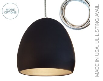 Matte Black and Stainless Steel Cord Ceramic Pendant Light- MADE IN USA