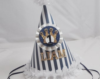 Little Prince Party Hat, 1st Birthday Boy, Personalized Crown Hat, Prince Birthday, Photo Prop,  First Birthday Boy, Smash Cake Hat