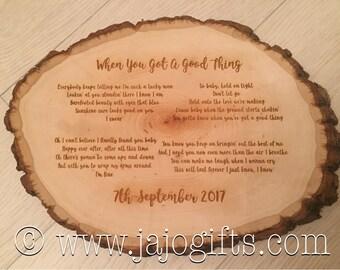 Wedding first dance lyrics engraved log slice perfect groom wedding day gift