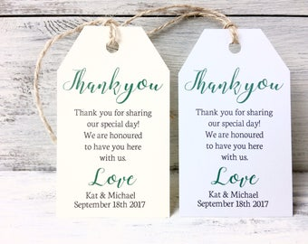 Wedding hang tags, Personalised wedding thank you tags, Wedding table decor,  Bespoke weddings, colourful wedding tags, ivory or white,
