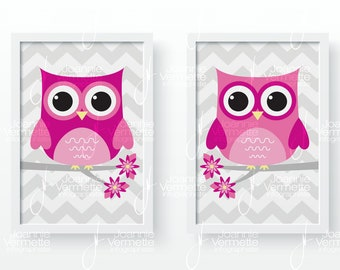 Room decoration baby owls pink