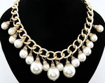 Pearl & Gold Tone Statement Fashion Necklace