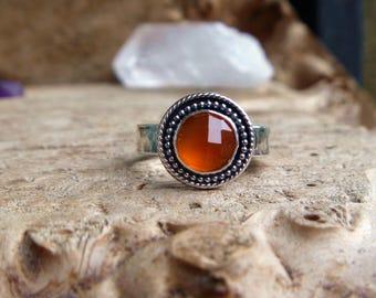 Carnelian sterling silver ring// size 7.5 // Metaphysical jewelry // Handmade // Carnelian jewelry
