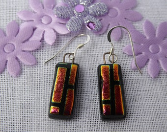 Dichroic glass earrings pink/gold/black fused drops birthday anniversary Christmas Mothers Day gift for her wife girlfriend Mum sister