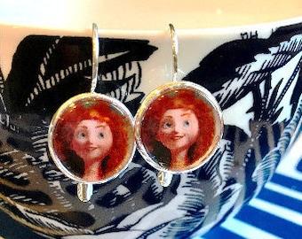 Merida Brave cabochon earrings- 16mm
