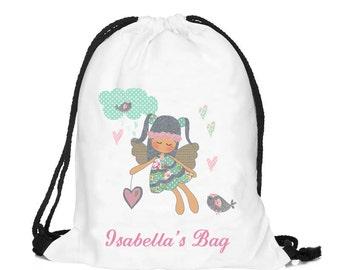 Personalized fairy bag, Personalised drawstring bag, dance bag, swimming bag, school bag