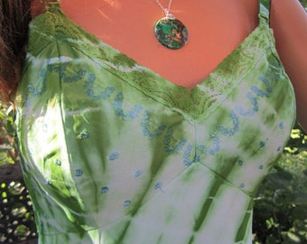 Vintage Hand Dyed Tie Dyed Slip Dress Bohemian Hippie Gypsy Festival Dress SEARS tag 34 Short TYEDYE DRESS
