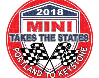 """Grill Badge- MTTS 2018 Portland to Keystone RED  3"""" magnetic grill badge"""