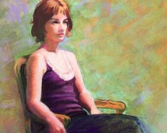 "Girl in Chair-Original Pastel Painting-16"" x 11 1/2""-Figurative-Portrait"