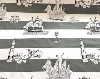 Half metre nautical cotton fabric, ships fabric, nautical fabric, nautical pattern, grey nautical fabric
