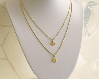 Tiny Anchor Pendant Necklace 14k Gold Solid Sailor Pendant Nautical Jewelry