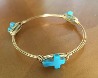 Turquoise cross wire wrap bangle bracelet