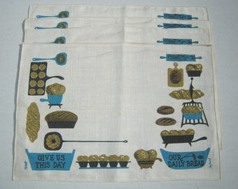 Vintage Mid Century Placemat Set of 4 Give Us Our Daily Bread Signed Darr Wert Retro Kitchen Lords Prayer