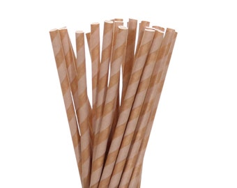 Paper Straws, Kraft Paper and Brown Striped Paper Straws, Rustic Wedding Straws, Vintage Paper Straws, Glamping Party Supplies, Safari Straw