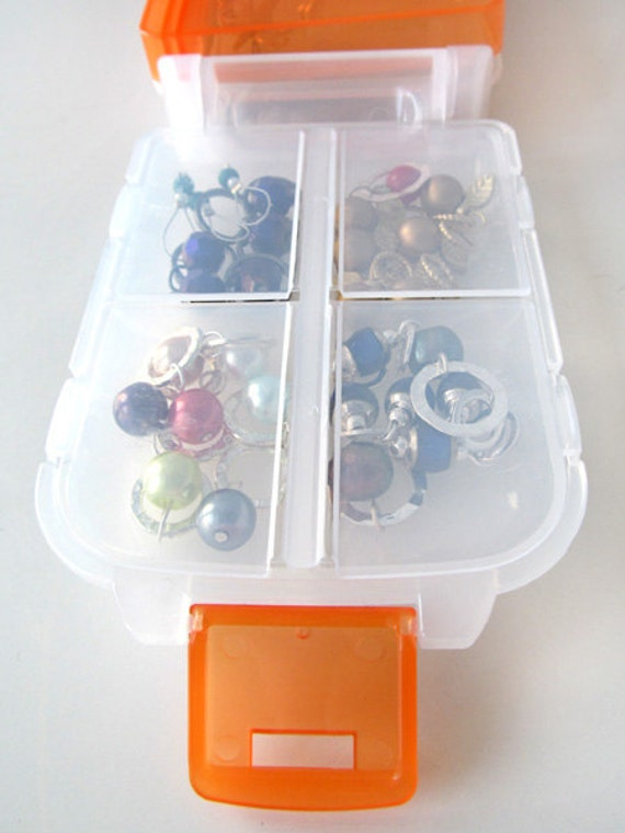 Snap 'n Go Notions Case - On-The-Go Storage Accessory for Knitters and Crocheters - Tangerine Orange