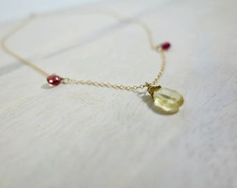 Raw Peridot & Garnet Teardrop Necklace, Genuine Gemstone Necklace, Delicate Pendant Necklace, Dainty Gold Pink Green Necklace // Birthstone