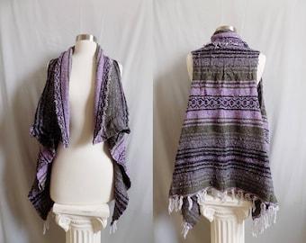 Purple Vest- Boho Fringe- Bohemian Clothing- Handmade Vest- Poncho- Tribal Clothing- Bohemian Top- Boho- Hippy Boho- Drug Rug