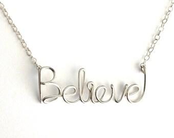 Believe Necklace. Believe Necklace in Sterling Silver. Aziza Jewelry