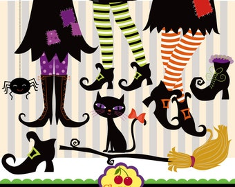 Halloween Witch Feet ,Witch Boots Digital Clip Art Set - HALLOWEEN NO.12 -Halloween Clip Art-Personal and Commercial Use