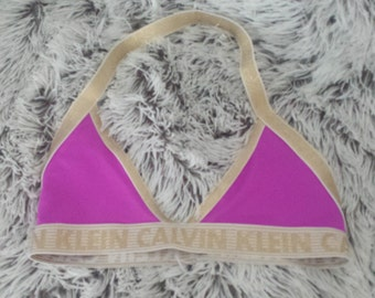Sale - Pink & Gold reworked Calvin Klein bikini top, bralette for summer fun and more