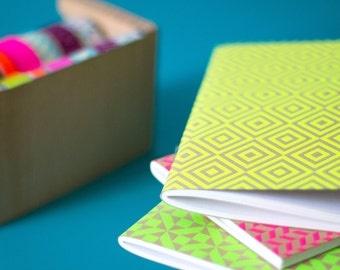 "1 pocket notebook with ""Neon"" - 1 Pocket ""Neon"" notebook - art screen print"