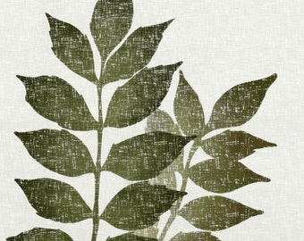 Wisteria 8 x 10 Wall Art Print, Vintage Style Art, Botanical Nature Print, Green Leaf Natural Colors (47)