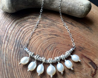 Pearl Necklace, Pearl Hill Tribe Silver Necklace, Freshwater Pearl Necklace
