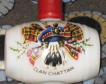 Vintage Scottish Souvenir Clan Chattan Glass Whisky Barrel