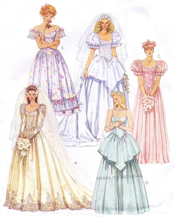 90s Womens Princess Wedding Gowns and Bridesmaids Gown and