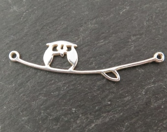 Sterling Silver Owl on Branch Connector 36mm