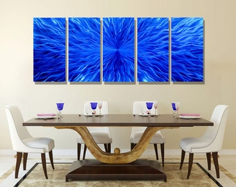 NEW! Huge Blue Modern Metal Wall Art, Abstract Multi Panel Wall Sculpture, Extra Large Metal Wall Decor - Blue Vortex XL by Jon allen