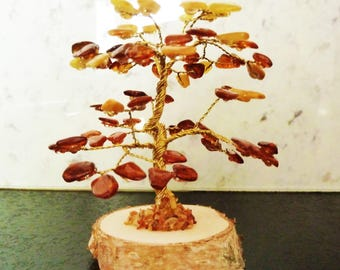Natural Baltic  Amber Lucky Tree. Oak Made Of Baltic Amber Beads.