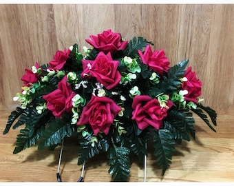 Cemetery Flowers, Grave Decoration, Headstone Saddle, Memorial, Funeral, For Mom, For Her, Handmade, Tribute, Grave site, Cemetary, Spring